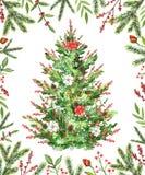 Albero di Natale dell'acquerello con i fiori, le bacche ed i coni in una f royalty illustrazione gratis