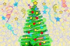Albero di Natale dell'illustrazione con i giocattoli variopinti Fotografie Stock Libere da Diritti