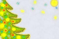 Albero di Natale dell'illustrazione con i giocattoli variopinti Fotografia Stock