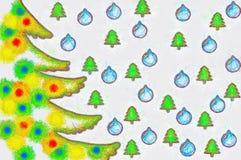 Albero di Natale dell'illustrazione con i giocattoli variopinti Immagine Stock
