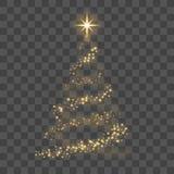 Albero di Natale dell'oro sull'illustrazione trasparente di vettore del buon anno del fondo Fotografie Stock Libere da Diritti