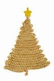 Albero di Natale della catena dorata su bianco Fotografie Stock