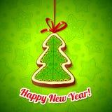 Albero di Natale della torta di miele su priorità bassa verde Immagine Stock Libera da Diritti