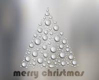 Albero di Natale delle gocce di acqua su vetro bianco Fotografia Stock Libera da Diritti