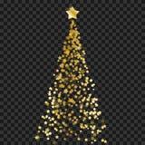 Albero di Natale delle stelle sui precedenti trasparenti Albero di Natale dell'oro come simbolo del buon anno, Ce di festa di Buo immagini stock libere da diritti