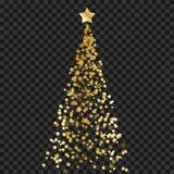 Albero di Natale delle stelle sui precedenti trasparenti Albero di Natale dell'oro come simbolo del buon anno, festa cel di Buon  fotografia stock