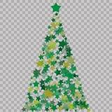 Albero di Natale delle stelle sui precedenti trasparenti Albero di Natale verde come simbolo del buon anno, festa c di Buon Natal fotografia stock libera da diritti