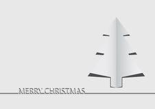 Albero di Natale di carta su priorità bassa bianca illustrazione vettoriale