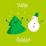 Albero di Natale di divertimento con il pupazzo di neve su fondo verde Feste felici Cartolina d'auguri Vettore Fotografie Stock Libere da Diritti