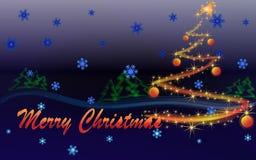Albero di Natale di incandescenza Immagine Stock