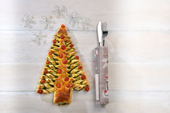 Albero Di Natale di makaronu sfoglia Fotografia Stock