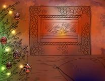 Albero di Natale di Natale camino e Immagini Stock Libere da Diritti