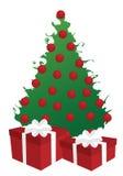 Albero di Natale di Swirly con i regali Fotografie Stock Libere da Diritti