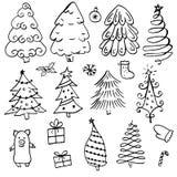Albero di Natale differente di scarabocchio con il profilo nero illustrazione vettoriale