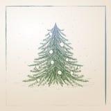 Albero di Natale disegnato a mano Fotografie Stock