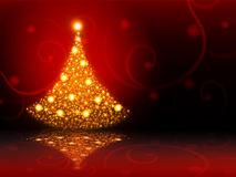 Albero di Natale dorato. illustrazione di stock