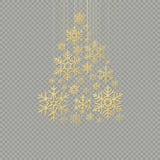 Albero di Natale dorato del fiocco di neve su fondo trasparente per il buon anno della cartolina d'auguri ENV 10 royalty illustrazione gratis