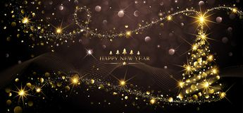 Albero di Natale dorato della cartolina d'auguri Fotografia Stock