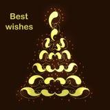 Albero di Natale dorato della scintilla con gli auguri royalty illustrazione gratis