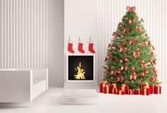 Albero di Natale e camino 3d Immagini Stock
