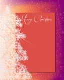 Albero di Natale e carta dei fiocchi di neve per il rosa arancio del testo Fotografie Stock