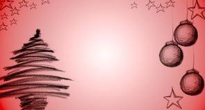 Albero di Natale e cartoline di Natale con carbone di legna Immagini Stock Libere da Diritti