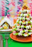 Albero di Natale e casa del pan di zenzero Fotografia Stock