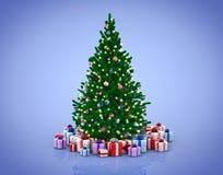 Albero di Natale e contenitori di regalo decorati illustrazione vettoriale