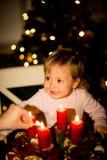 Albero di Natale e corona di arrivo Fotografia Stock