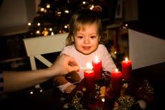 Albero di Natale e corona di arrivo Immagine Stock Libera da Diritti