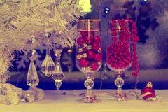 Albero di Natale e decorazioni carta da parati, annata, retro Fotografia Stock Libera da Diritti