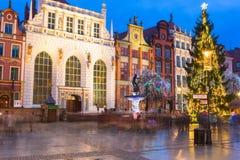 Albero di Natale e decorazioni in vecchia città di Danzica Fotografia Stock Libera da Diritti