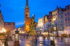 Albero di Natale e decorazioni in vecchia città di Danzica Immagine Stock