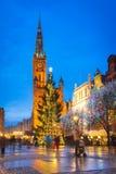 Albero di Natale e decorazioni in vecchia città di Danzica Fotografie Stock