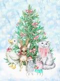 Albero di Natale e degli animali domestici Illustrazione di Natale dell'acquerello illustrazione vettoriale