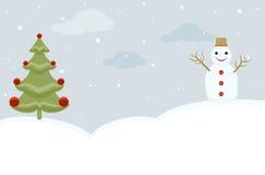 Albero di Natale e del pupazzo di neve Immagini Stock Libere da Diritti