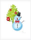 Albero di Natale e del pupazzo di neve Fotografia Stock Libera da Diritti