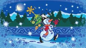 Albero di Natale e del pupazzo di neve Fotografie Stock Libere da Diritti