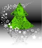 Albero di Natale e fiocchi di neve Fotografia Stock