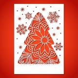 Albero di Natale e fiocchi di neve Openwork Immagine Stock