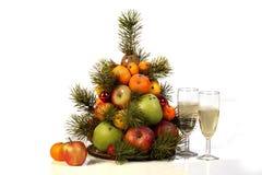 Albero di Natale e frutta Immagini Stock