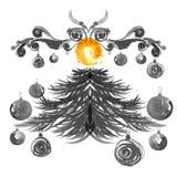 Albero di Natale e lampade Illustrazione dell'acquerello e dell'inchiostro Elementi per progettazione della cartolina d'auguri Immagine Stock
