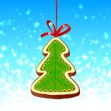Albero di Natale e nastro rosso sull'azzurro Immagine Stock Libera da Diritti