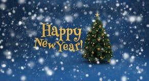 Albero di Natale e neve sul blu Immagine Stock