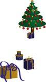 Albero di Natale e presente Immagini Stock Libere da Diritti
