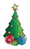 Albero di Natale e presente illustrazione vettoriale