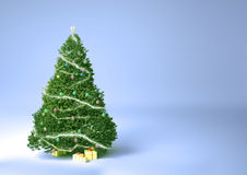 Albero di Natale e presente su una priorità bassa molle H Fotografie Stock Libere da Diritti