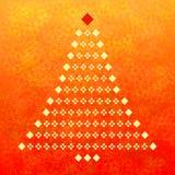 Albero di Natale e priorità bassa astratta rossa Fotografia Stock Libera da Diritti