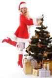 Albero di Natale e ragazza della Santa Immagine Stock Libera da Diritti