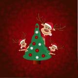 Albero di Natale e renna Immagine Stock